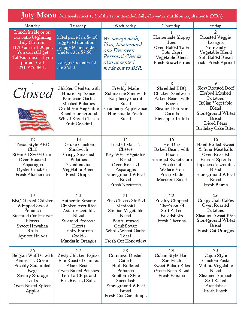 July 2021 menu